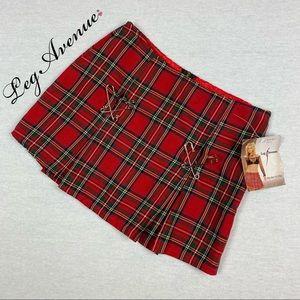 NWT Leg Avenue Plaid Safety Pin Mini Skirt